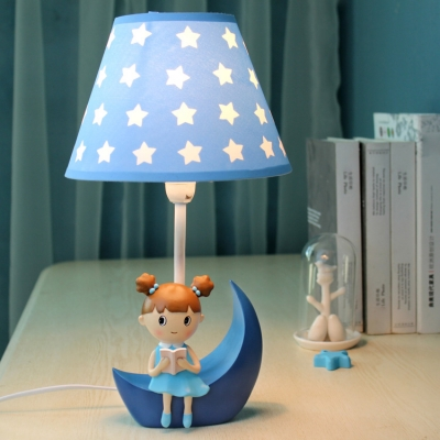 Adorable Star Design Table Light with Little Girls Decoration Bedroom Blue Fabric Shade 1 Light Reading Light