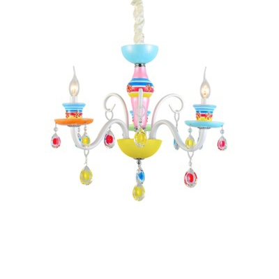 Shabby Chic Chandelier Candle Style Kid Girl Bedroom Living Room Chandelier with Crystal Balls