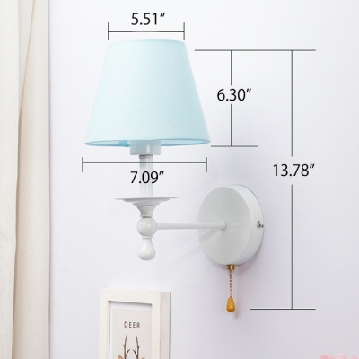 Sky Blue Tapered Wall Light Mediterranean Fabric Single Light Wall Light Sconce for Children Room