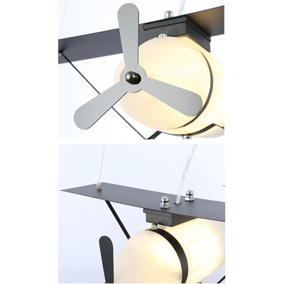 Vintage Airplane Suspended Lamp with Cream Glass Shade Children Room 1 Light Lighting Fixture in Black/Brown