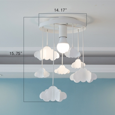 White 1-Light Kids Room Pendant Light with Hanging Clouds