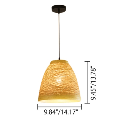 American Rustic Style Multicolored Dining Room Bedroom Pendant Lamp with Cane Shade