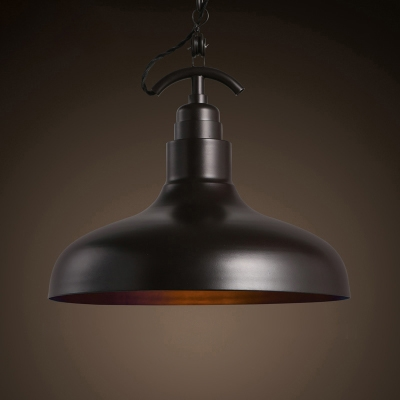 Vintage Industrial Style Matte Black Finish 1 Light Hanging Lamp with Metal Shade