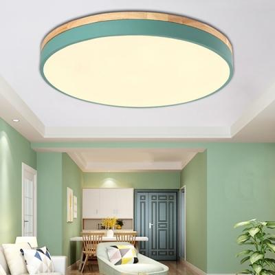 Acrylic Round Shade Flush Mount Macaron Modernism Kids Youth Bedroom Flush Ceiling Light