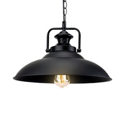 Industrial Textured Black 1-Light Hanging Pendant Light with Shallow Round Shade