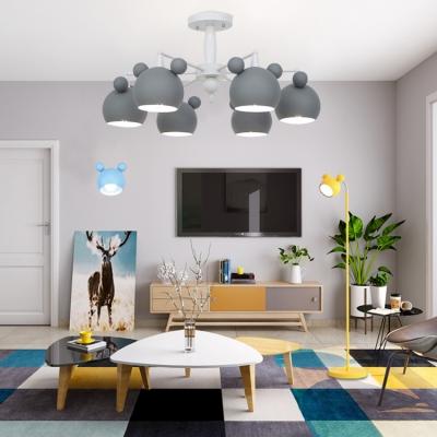 3/6 Lights Cartoon Mouse Chandelier Colorful Stylish Children Bedroom Metal Lighting Fixture