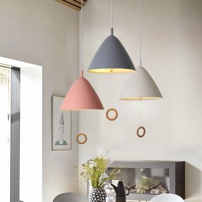 Conical 1 Light Pendant Lamp Colorful Macaron Metal Hanging Lamp for Corridor Kitchen
