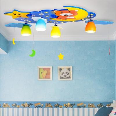 Lovely Blue/Pink Children's Bedroom Flush Mount Light Wood Led Bear & Star Kid's Lighting