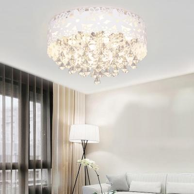 Modern Drum Crystal Flush Mount Crystal Chandelier Light for Bathroom Living Room