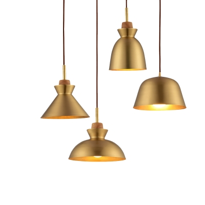 Baycheer / One Bulb Simple Style Hanging Lamp in Satin Brass Finish Different Shades for Choice