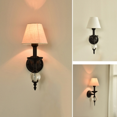 Fabric Coolie Sconce Light with Glass Globe American Retro Single Light Wall Mount Light for Staircase