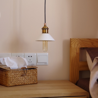 Transitional Style White Ceramic Shade Single Head Pendant Lighting for Restaurant