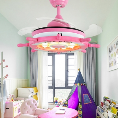 14.18'' W Reversible Nautical Style Anchor Blue/Pink Kids Ceiling Fan with Light