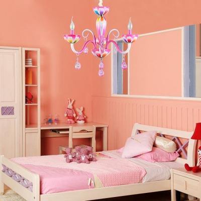Art Deco Small Crystal Tadpoles Kid Bedroom Dining Room Crystal Chandelier Indoor
