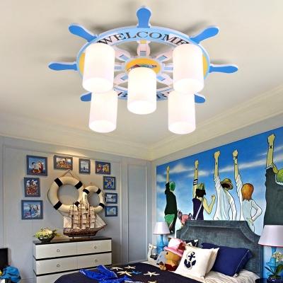 Ship Wheel 5 Lights Flush Mount Light Blue Glass Flushmount Ceiling Fixture for Boys