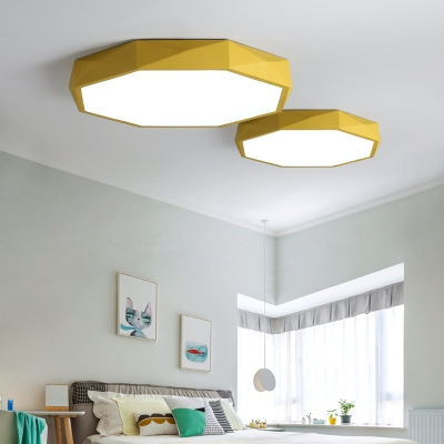 Acrylic Octagon Flush Mount Lighting Nordic Macaron Ceiling Fixture for Sitting Room
