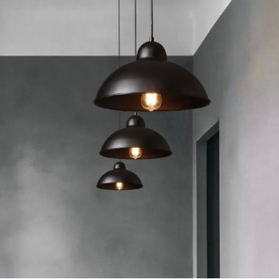 Industrial Dining Room Restaurant 1 Bulb Pendant Light with Metal Dome Shade in Textured Black/White Finish