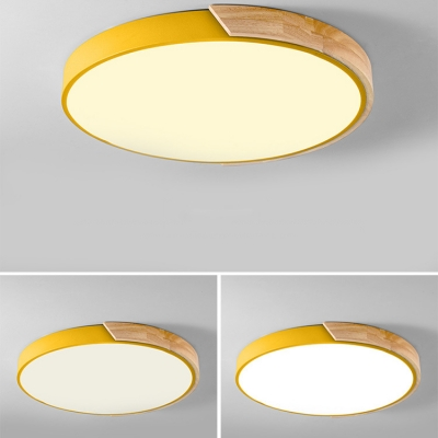 Macaron Modern Acrylic Round Flushmount Kids Bedroom LED Ceiling Light in Warm/White