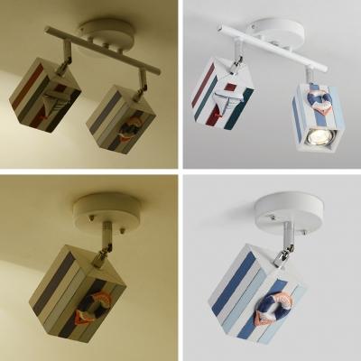 Rotatable Strips Design Semi Flush Mount Children Room Wood Spot Light in Multicolored