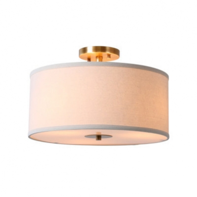 Fabric Drum Semi Flush Light Modern Fashion 4 Light Ceiling Chandelier in Brass for Bedroom