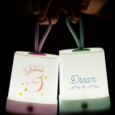 Silicon Touch Sensing Cartoon Portable Kids Bedroom Night Light in Yellow/Pink/Green/Purple