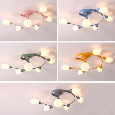 Swirl Arm Multi Light Chandelier Contemporary Macaron Glass Hanging Chandelier for Children