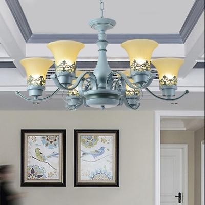 Bell 6 Lights Ceiling Chandelier Children Room Blue Finish Glass Hanging Light Fixture