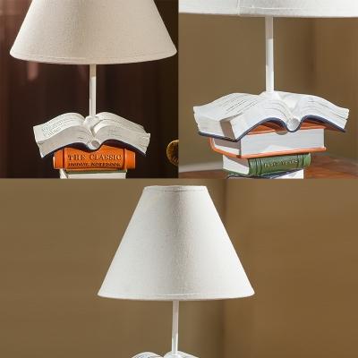 Fabric Book Design Table Light American Retro Single Light Standing Table Lamp in White