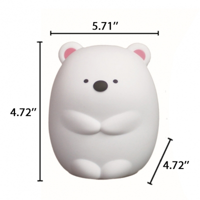 Wireless Polar Bear LED Kids Night Light in White Touch Remote Control