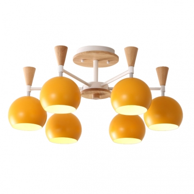 Wooden Chandelier with Globe Shade Nordic Macaron 3/6/8 Lights Hanging Light for Kids