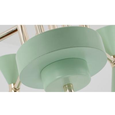 6 Lights Conical Suspension Light Minimalist Macaron Metal Hanging Chandelier for Sitting Room