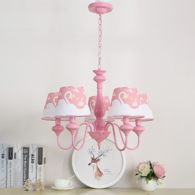 Pink Tapered Suspended Lamp with Swan Pattern Fabric Shade 5 Lights Hanging Lamp for Girls Room