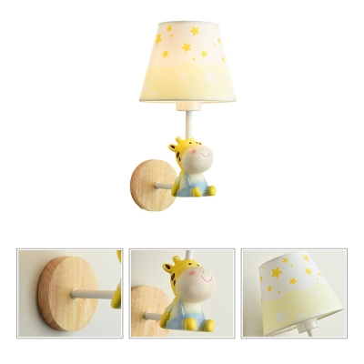 Lovely Coolie Shade Lighting Fixture with Resin Animal Decoration 1 Light Wall Sconce for Kids Baby