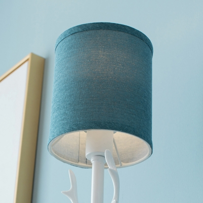 Metap Base Antler 1 Bulb Wall Lighting with Blue/White Linen Shade