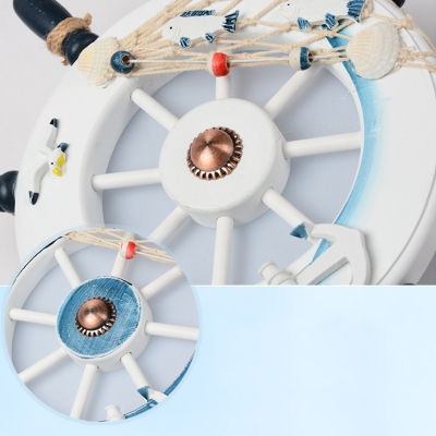 Adjustable Ship Wheel Hanging Light Boys Room Wooden 1/2/3 Lights Pendant Light in Third Gear
