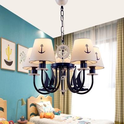Mediterranean Sailboat Chandelier Boys Room Metal 5 Lights Ceiling Light in Navy Blue