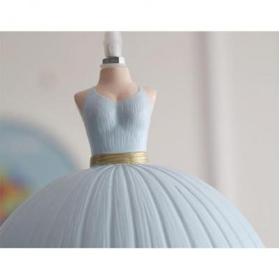 Lovely Dome 1/3 Light Suspended Lamp with Dress Design Light Blue/Pink Plastic Pendant Light for Girls Bedroom