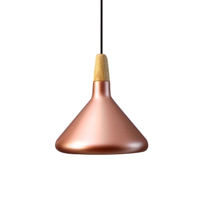 Polished Copper/Silver Finish 1 Light Cafe Hanging Lamp in Modern Simple Style