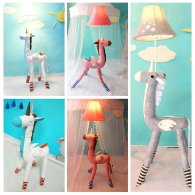 1 Head Unicorn Standing Light Kids Room Bedside White/Gray/Pink Fabric  Shade Floor ...