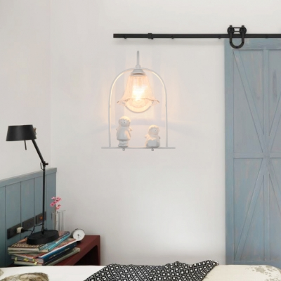 White Girls Room 1 Light Hanging Wall Sconce with Flower/Clear Bell Shade