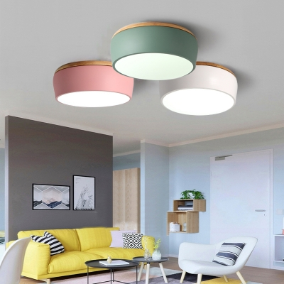 Macaron Modern Drum Flush Light Living Room Wooden Led Ceiling Fixture