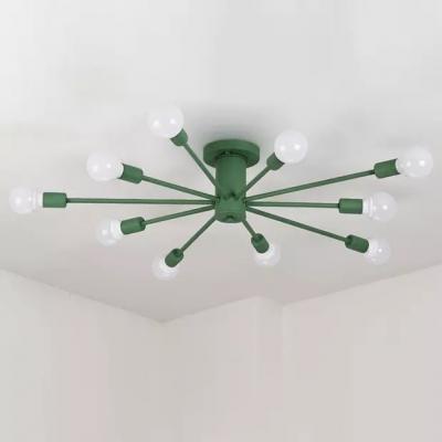 Multi Light Open Bulb Chandelier Light Colorful Nordic Bedroom Metal Suspension Light