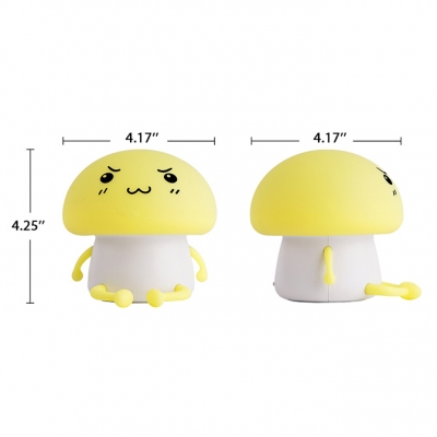 Battery-Powered/Rechargeable Bunny Night Light LED Kids Bed Lamp in Yellow/Blue/White/Pink