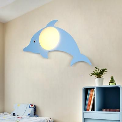 Eye Protection Cartoon Lighting Fixture Modernism Children Kids Room White Glass 1 Bulb Wall Light
