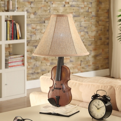 Fabric Bell Shade Standing Table Lamp with Violin Vintage Retro 1 Head Table Lamp for Kids