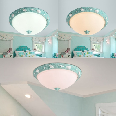 Seaside Resin Bowl Flushmount Kids Room 1 Light Ceiling Light Fixture In  Sky Blue ...
