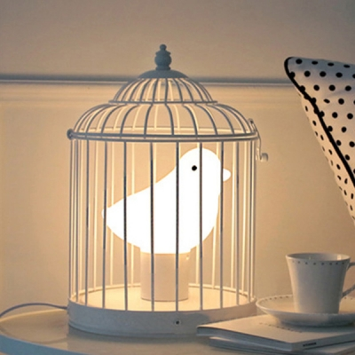 Kids Bedroom Bird Table Lamp with Gray Metal Cage
