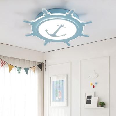 Anchor Kids Room Ceiling Fixture Mediterranean Acrylic LED Flush Mount Light in Blue