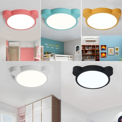 Colorful Macaron Bear Flush Light Children's Play Area Acrylic Ceiling Fixture in Warm/White