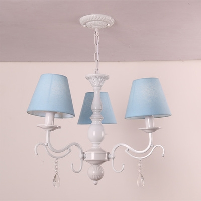 Modern Dining Room Chandelier Pink/Blue Shaded Chandelier with Crystal Balls, 3/5/6 Light